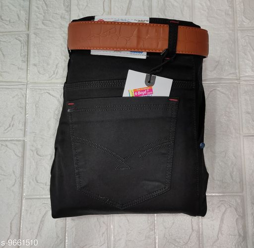Mne's Styilsh Nerrow Fit Strachable black Jeans with belt