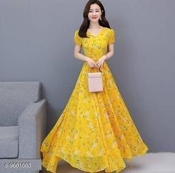 RAABTA YELLOW GGT FLOWER PRINTED LONG DRESS