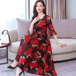 RAABTA RED ROSE FLOWER PRINTED LONG DRESS