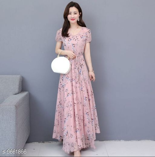 RAABTA PINK GGT FLOWER PRINTED LONG DRESS