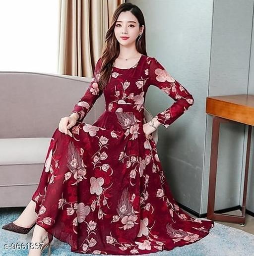 RAABTA MAROON 07 FLOWER PRINTED LONG DRESS
