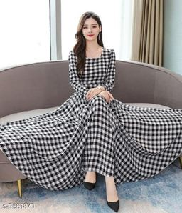 RAABTA BLACK AND WHITE COTTON CHECK LONG DRESS
