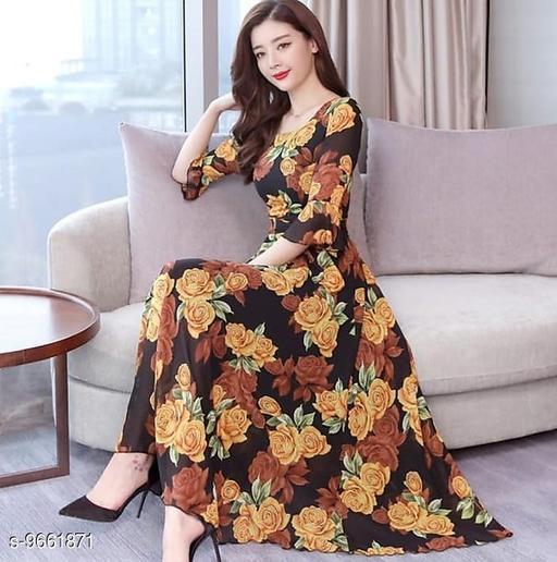 RAABTA BROWN ROSE FLOWER PRINTED LONG DRESS