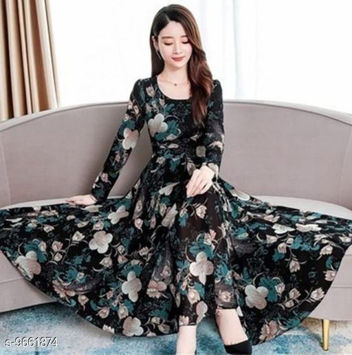 RAABTA BLACK 07 FLOWER PRINTED LONG DRESS