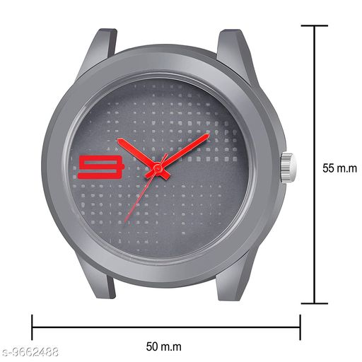 MT - 108 RED G RAY Stylish Silver Dial Red Rubber Belt and Silver Case Analogue MT Watch for Men's and Boy's (1 PCS)