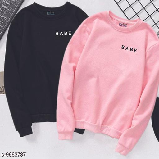Women's Full Sleeve's Printed Combo Of Babe T-SHIRT|Women's Full Sleeve's Sweat Shirt|