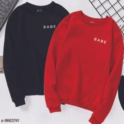 Women's Full Sleeve's Printed Combo Of Babe T-SHIRT Women's Full Sleeve's Sweat Shirt 
