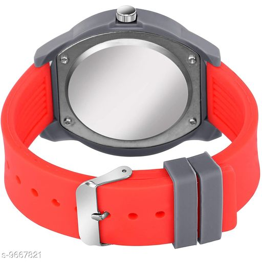 Stylish  Silver Dial Red Rubber Belt and Silver Case Analogue MT Watch for Men's and Boy's (1 PCS)
