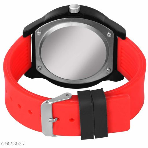 1  Pcs :- Black Dial Red Rubber Belt Analogue MT Watch for Men's and Boy's