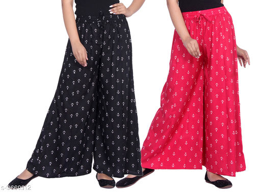 Gurara Anchor Soft Rayon Women's Regular Fit Printed Palazzos Pack of 2 (Free Size)