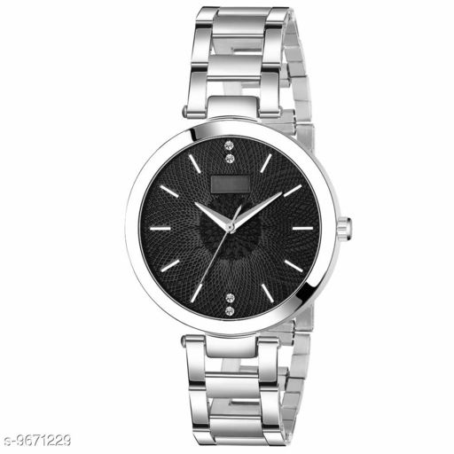 Black Dial Silver Chain Belt MT Analogue Watch for Girl's and Women's Pack of - 1 (MT-201)