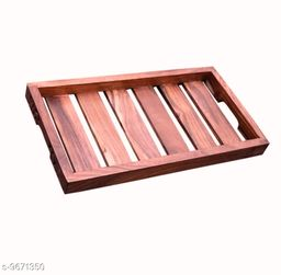 A S Handicrafts Sheesham Wood Handmade & Handcrafted Wooden Serving Tray Brown