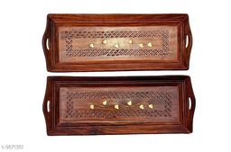 A S Handicrafts Wooden Serving Tray with Hand Carved Design 11 Inch Set of 2 Brown