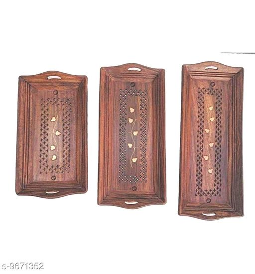 A S Handicrafts Wooden Coffee Tray Set of 3 Brown
