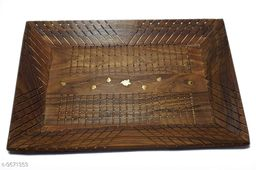 A S Handicrafts Hand Carved Wooden Serving Tray Tea Coffee Snacks, Water Decorative Tray/Platter for Home/Kitchen/Table Décor
