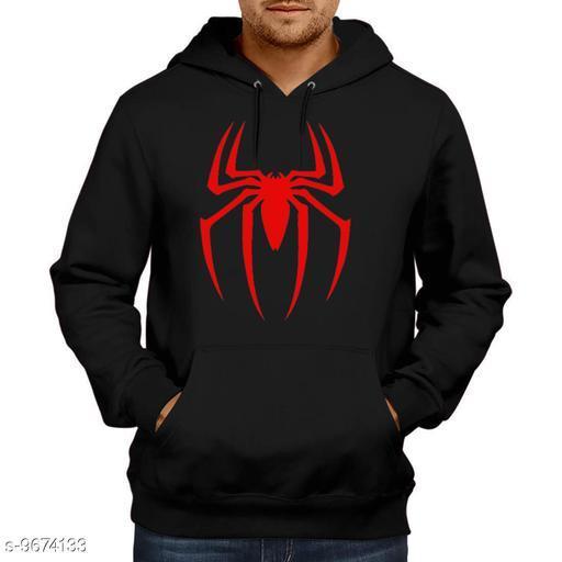 Divra Clothing Unisex Regular Fit Spider Printed Cotton Hoodie