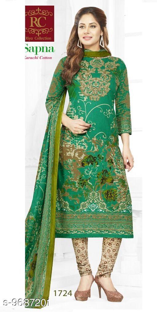 Suits & Dress Materials Trendy Sensational Salwar Suits & Dress Materials  *Top Fabric* Cotton + Top Length  *Bottom Fabric* Cotton + Bottom Length  *Dupatta Fabric* Cotton + Dupatta Length  *Type* Un Stitched  *Pattern* Printed  *Multipack* Single  *Sizes Available* Un Stitched *    Catalog Name: RC Sapna Pure Cotton Printed Dress Material and salwar kameez Suit ( UN-STITCHED ) CatalogID_1716245 C74-SC1002 Code: 945-9687201-