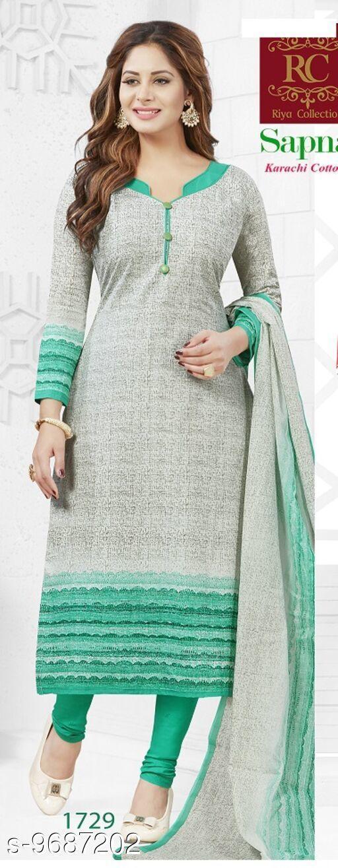 Suits & Dress Materials Trendy Sensational Salwar Suits & Dress Materials  *Top Fabric* Cotton + Top Length  *Bottom Fabric* Cotton + Bottom Length  *Dupatta Fabric* Cotton + Dupatta Length  *Type* Un Stitched  *Pattern* Printed  *Multipack* Single  *Sizes Available* Un Stitched *    Catalog Name: RC Sapna Pure Cotton Printed Dress Material and salwar kameez Suit ( UN-STITCHED ) CatalogID_1716245 C74-SC1002 Code: 945-9687202-