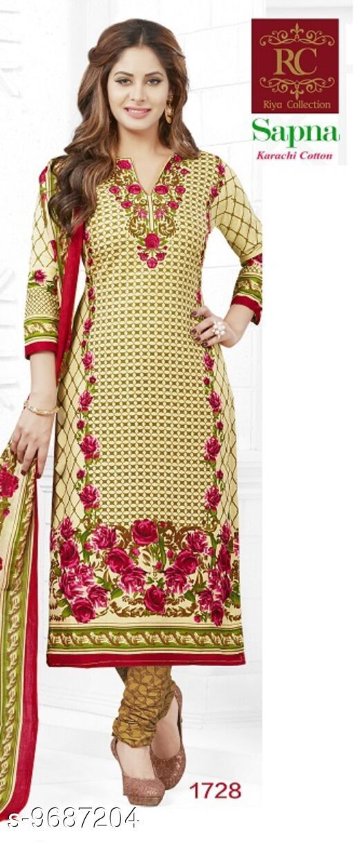 Suits & Dress Materials Trendy Sensational Salwar Suits & Dress Materials  *Top Fabric* Cotton + Top Length  *Bottom Fabric* Cotton + Bottom Length  *Dupatta Fabric* Cotton + Dupatta Length  *Type* Un Stitched  *Pattern* Printed  *Multipack* Single  *Sizes Available* Un Stitched *    Catalog Name: RC Sapna Pure Cotton Printed Dress Material and salwar kameez Suit ( UN-STITCHED ) CatalogID_1716245 C74-SC1002 Code: 945-9687204-
