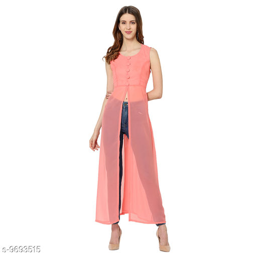 My Swag Women Peach Solid Front Slit Maxi Dress