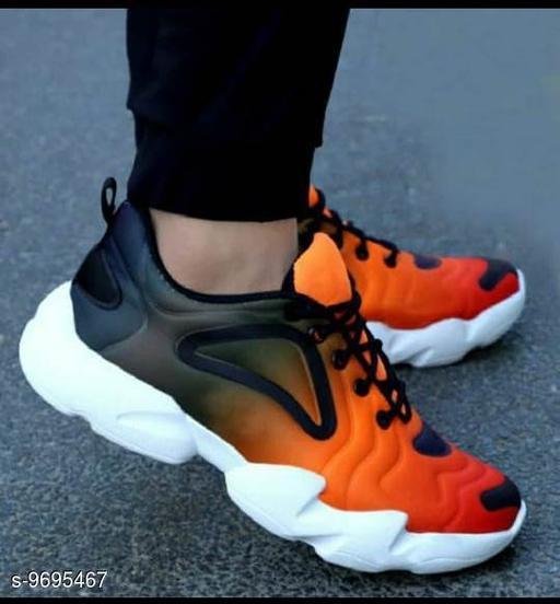 Stylish Men's Mesh Orange Casual Shoes