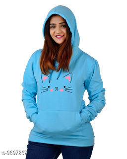 Divra Clothing Unisex Regular Fit Cat Printed Cotton Hoodie