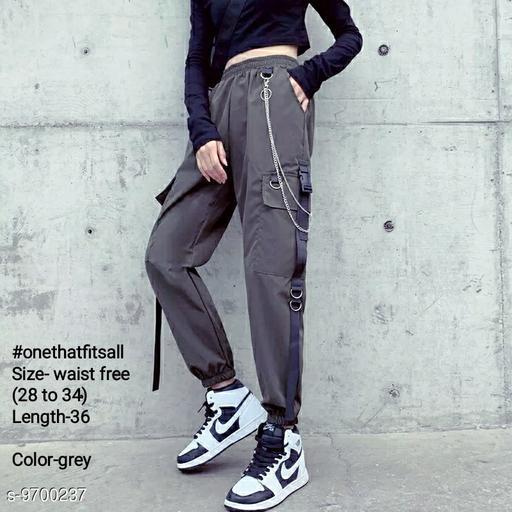 #Onethatfitsall hip-hop high waist chain big pockets loose joggers cotton blend-free size (waist-28 to 34)-length-37-grey