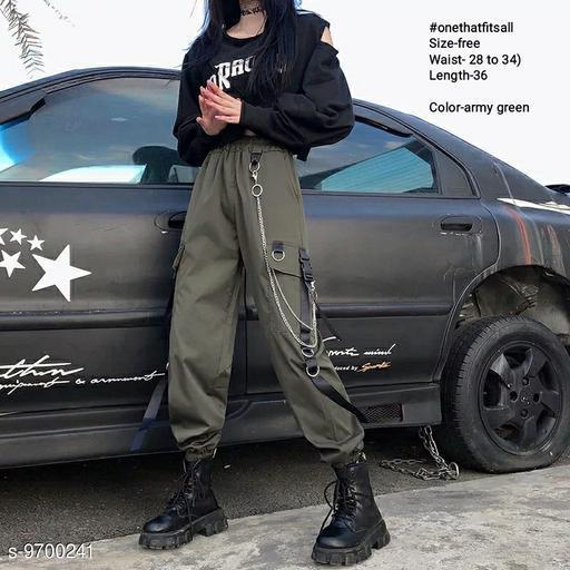 #Onethatfitsall hip-hop high waist chain big pockets loose joggers cotton blend-free size (waist-28 to 34)-length-37-green