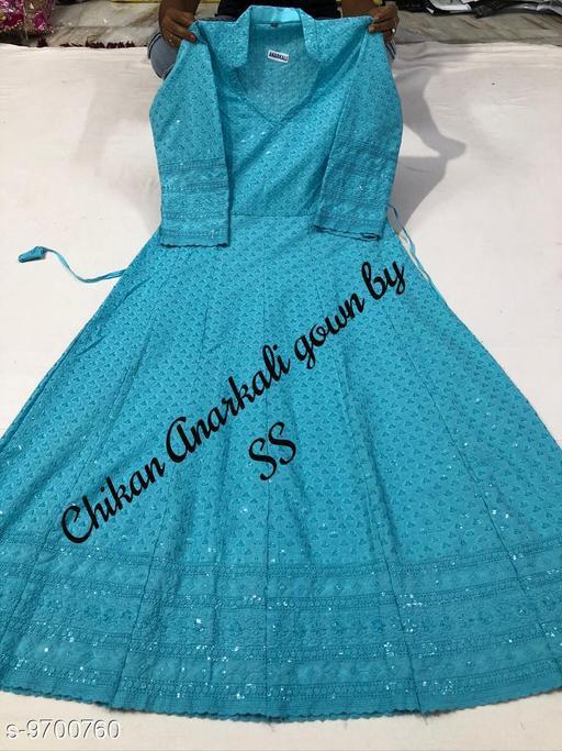 Women's Chikankari Cotton Blue Anarkali Kurti
