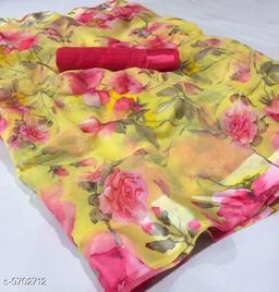 Anni Collections Cream Color Linen Printed Saree