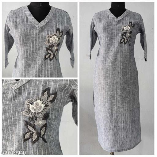Women Cotton Linen Straight Stripe Kurti