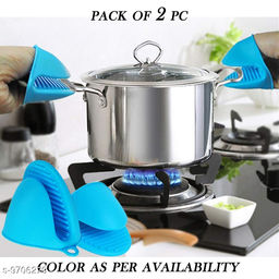 Silicone Glove Grip Oven Pot Holder  (Multicolor) – Set of  2 PCS