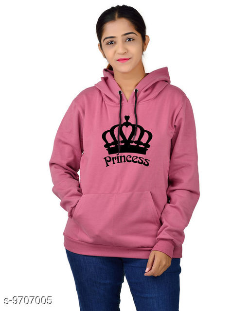 Divra Clothing Unisex Regular Fit Princess Printed Cotton Hoodie