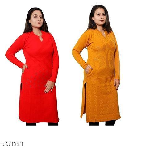 Women Wool Straight Printed Yellow Kurti