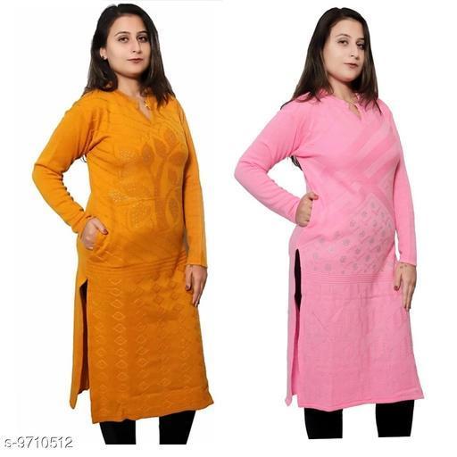 Women Wool Straight Self-Design Mustard Kurti
