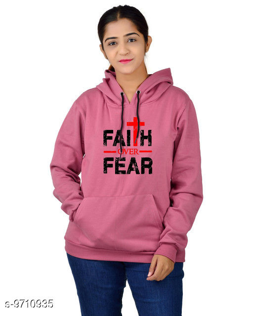 Divra Clothing Unisex Regular Fit Faith Over Fear Printed Cotton Hoodie