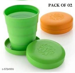 Unbreakable Magic Cup/Folding Glass/Pocket Glass for Traveling/Picnic Glass Set of 2