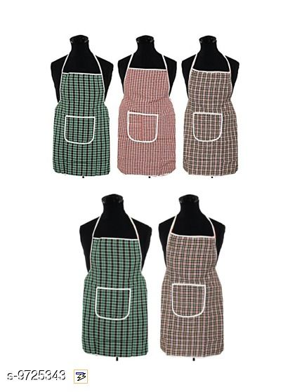 Fabfurn Multicolor Check Design Cotton Kitchen Apron with Front Utility Pocket (Pack of 5) Color As Per Availability