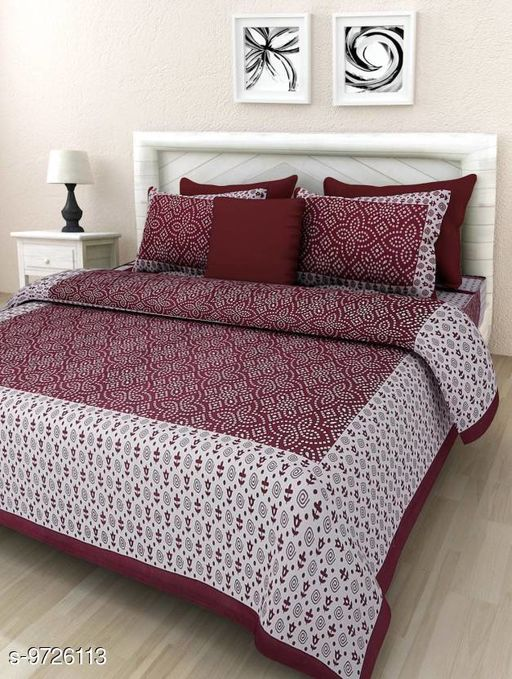 Sanganeri printe chunri pattern printed double bed cotton bedsheet with 2 pillow cover color Maroon