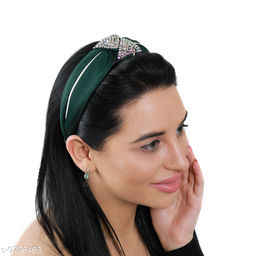 Miss J Crystal/Fabric Accessories Knot Shapped Korean Style Made up with Turban Fabric ,-01 Piece/Strong Grip/Soft & Smooth Premium Quality/Flexible - Green