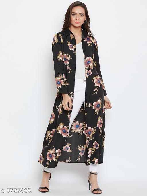 AAROJ Stylish Black  floral Women's Shrug
