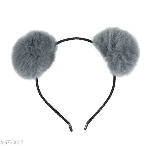 Miss J POM-POM/Synthetic Fabric Trendy Cat Ears Hairband / Headband for Kids and Girls ,-01 Piece/Strong Grip/Soft & Smooth Premium Quality - Grey