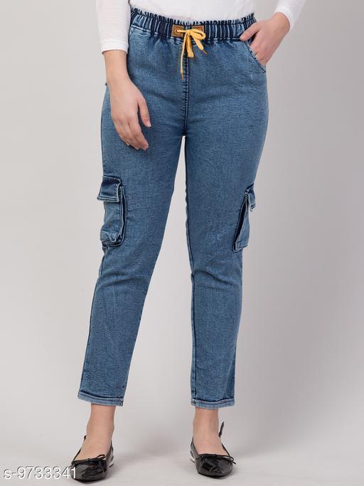 Ira Premium Joggers Cargo Blue Jean For Women