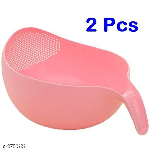 2 Pcs Rice Fruits Vegetable Noodles Pasta Washing Bowl and Strainer for Storing and Straining (Pink Colour)