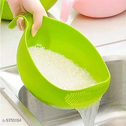 Rice Fruits Vegetable Noodles Pasta Washing Bowl and Strainer for Storing and Straining (Green Colour)