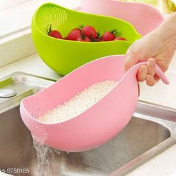 Rice Fruits Vegetable Noodles Pasta Washing Bowl and Strainer for Storing and Straining (Pink Colour)