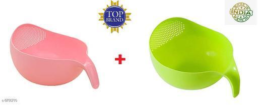 Rice, Fruits, Vegetable Washing Bowl (Pink + Green)
