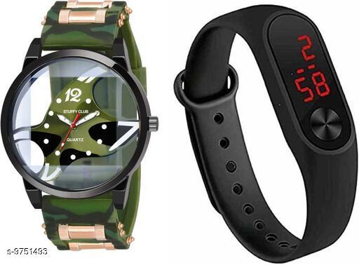 Watches Trendy Watches  *Strap Material* Synthetic  *Display Type* Analogue  *Size* Free Size  *Multipack* 2 ALL PRODUCT BELOWE GST 5 % HSN CODE 9105 1.LETEST ANALOGUE MULTICOLOUR WATCH FOR MENS PRICE-179 SIZE-FREE SIZE MATERIAL-SYNTETIC SKU-JME-FOSSIL-BROWN-M2-BLACK-COMBO 2LETEST ANALOGUE MULTICOLOUR WATCH FOR MENS PRICE-179 SIZE-FREE SIZE MATERIAL-SYNTETIC SKU-JME-FOSSIL-GREEN-M2-BLACK-COMBO 3.LETEST ANALOGUE MULTICOLOUR WATCH FOR MENS PRICE-179 SIZE-FREE SIZE MATERIAL-SYNTETIC SKU-JME-FOSSIL-RED-M2-RED-COMBO 4.LETEST ANALOGUE MULTICOLOUR WATCH FOR MENS PRICE-179 SIZE-FREE SIZE MATERIAL-SYNTETIC SKU-JME-FOSSIL-RED-M2-BLACK-COMBO  *Sizes Available* Free Size *    Catalog Name: Classic Men Watches CatalogID_1730556 C65-SC1232 Code: 752-9751493-