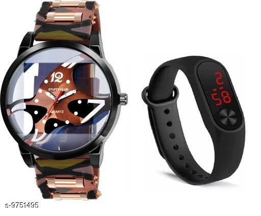 Watches Trendy Watches  *Strap Material* Synthetic  *Display Type* Analogue  *Size* Free Size  *Multipack* 2 ALL PRODUCT BELOWE GST 5 % HSN CODE 9105 1.LETEST ANALOGUE MULTICOLOUR WATCH FOR MENS PRICE-179 SIZE-FREE SIZE MATERIAL-SYNTETIC SKU-JME-FOSSIL-BROWN-M2-BLACK-COMBO 2LETEST ANALOGUE MULTICOLOUR WATCH FOR MENS PRICE-179 SIZE-FREE SIZE MATERIAL-SYNTETIC SKU-JME-FOSSIL-GREEN-M2-BLACK-COMBO 3.LETEST ANALOGUE MULTICOLOUR WATCH FOR MENS PRICE-179 SIZE-FREE SIZE MATERIAL-SYNTETIC SKU-JME-FOSSIL-RED-M2-RED-COMBO 4.LETEST ANALOGUE MULTICOLOUR WATCH FOR MENS PRICE-179 SIZE-FREE SIZE MATERIAL-SYNTETIC SKU-JME-FOSSIL-RED-M2-BLACK-COMBO  *Sizes Available* Free Size *    Catalog Name: Classic Men Watches CatalogID_1730556 C65-SC1232 Code: 752-9751495-