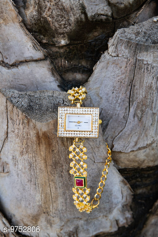 Kundan Diamond Round Analog Designer Bracelet Watch for Women & Girls